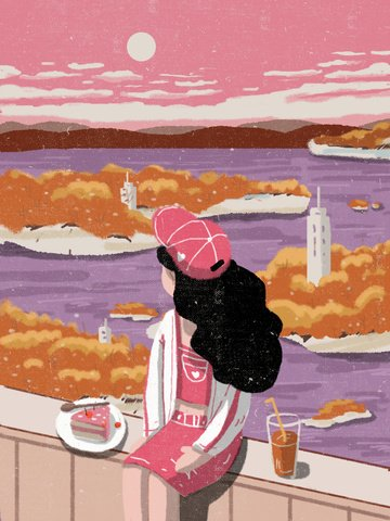 룩 아웃 스카이 핑크 드림 큐어 일러스트 레이션 삽화 소재 삽화 이미지