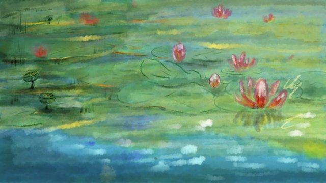 原創夏天荷花池塘處暑 插畫素材 插畫圖片
