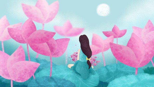 original illustration lotus season girl in good night pond llustration image