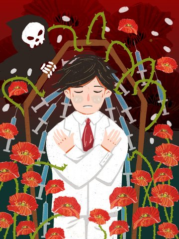 Cherish life away from drug death poppies doodle style illustration, Love Your Life, Stay Away From Drugs, The Man illustration image