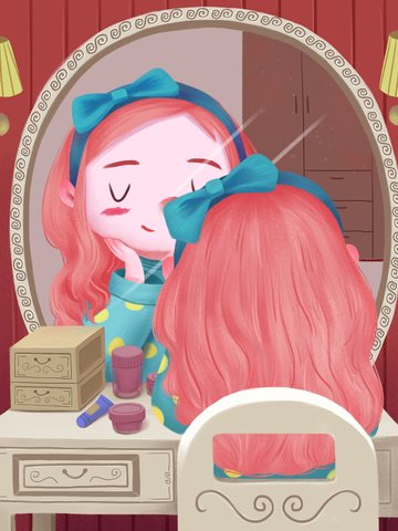 Warm cute cartoon girl skin care beauty, Make Up, Dressing Table, Mirror illustration image
