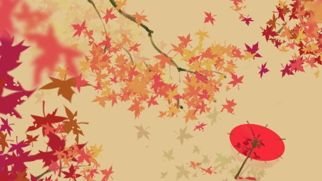 カエデの葉散在傘イラストレーション イラスト素材