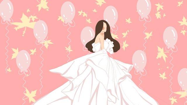 婚紗結婚季婚禮新娘氣球少女心粉紅色的夢 插畫素材