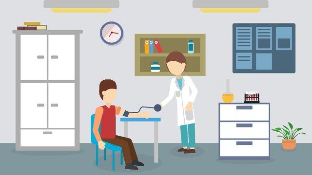 医療健康フラットウィンド血圧測定 イラスト素材 イラスト画像