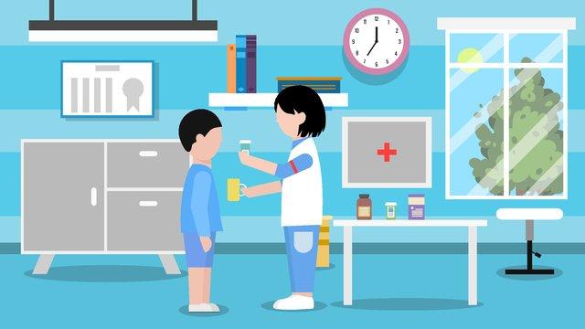 Medical health nurse feeding little boy to take medicine, Medical Health, Nurse, Patient illustration image