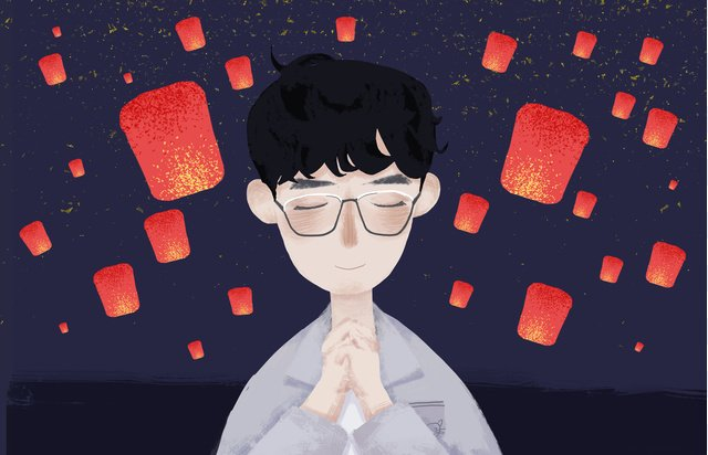 The chinese new years day boy starry sky under light wishing a small fresh original illustration, Mid-autumn Festival, Holiday Hotspot, Boy illustration image
