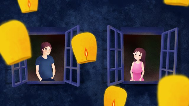 minh họa gốc trung thu tết quốc kong ming lantern window couple girl boy Hình minh họa