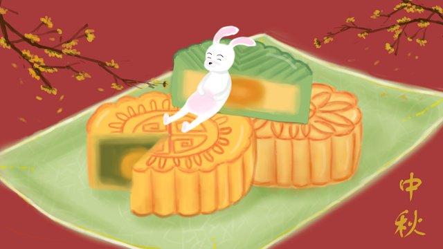 中秋月餅 插畫素材 插畫圖片