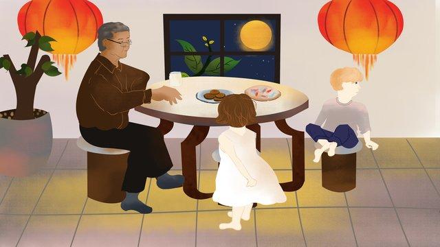 Traditional festival mid-autumn illustration, Mid Autumn, Reunion, Moon illustration image