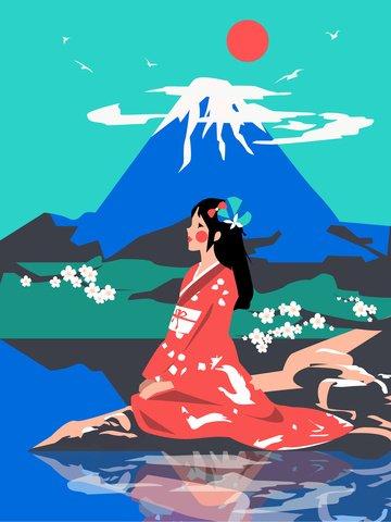 富士山の下で中世のレトロな着物の美しさ イラスト素材 イラスト画像