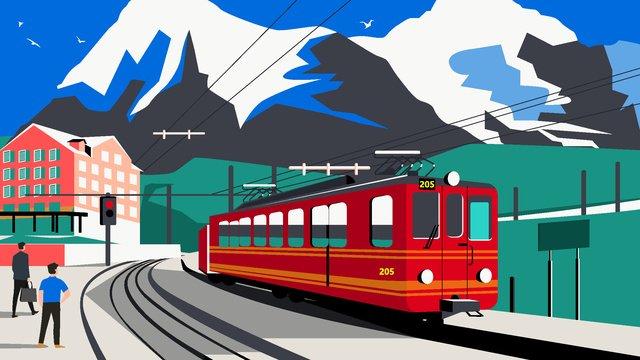 القطار الأحمر، في جابه من، متعلق بالقرون الوسطى، خمر، texture، جبل الثلج مواد الصور المدرجة