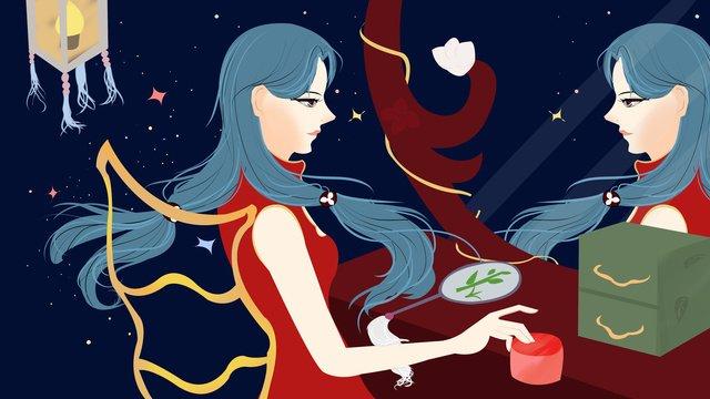 cheongsam woman llustration image illustration image