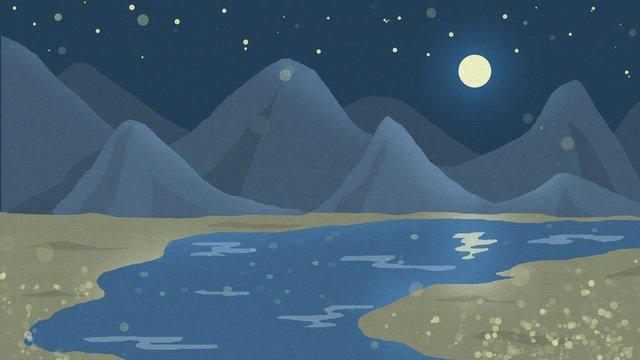 月光下山川河流金色沙灘 插畫素材