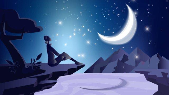 Moon landscape cartoon illustration, Moon, Night, Blue illustration image