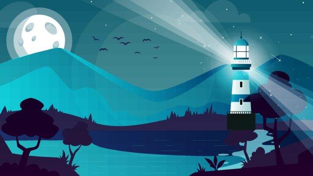 Moon cartoon vector illustration, Moon, Seaside, Starry Sky illustration image