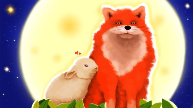 fox氏とmiss rabbitの花の中秋節シリーズ イラスト素材 イラスト画像