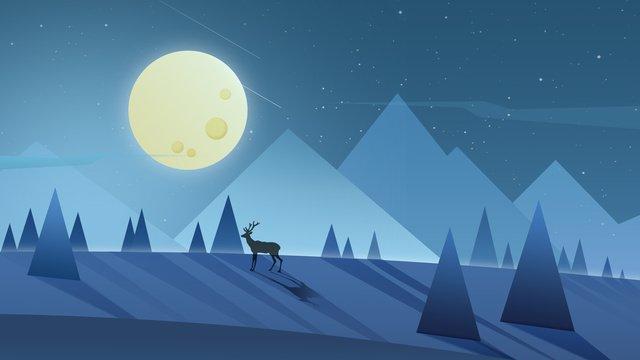 Иллюстрация градиента оленей под лунным светом Ресурсы иллюстрации Иллюстрация изображения