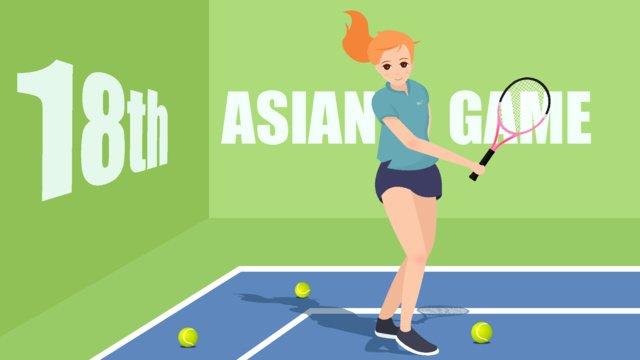 Cô gái chơi tennis tại sân asian games 2018Thể  Thao  Thể PNG Và Vector illustration image