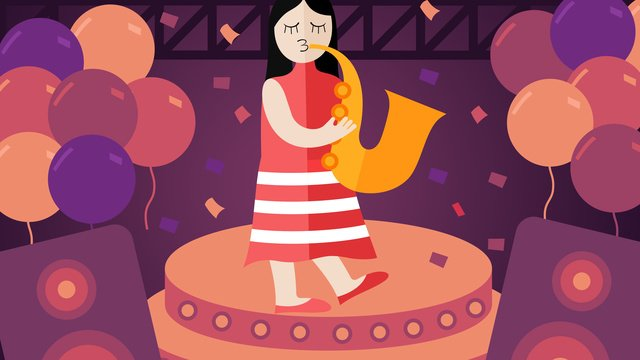 カラフルな音楽祭吹いてサックスオリジナルイラスト イラスト素材