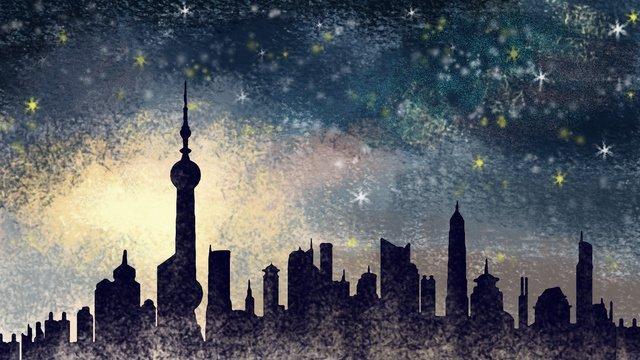 vẽ tay thành phố   thượng hải đêm minh họa chữa bệnh Hình minh họa