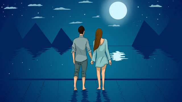 Night view of the sky couples eve illustration poster, Night, Moonlight, Mountain Range illustration image