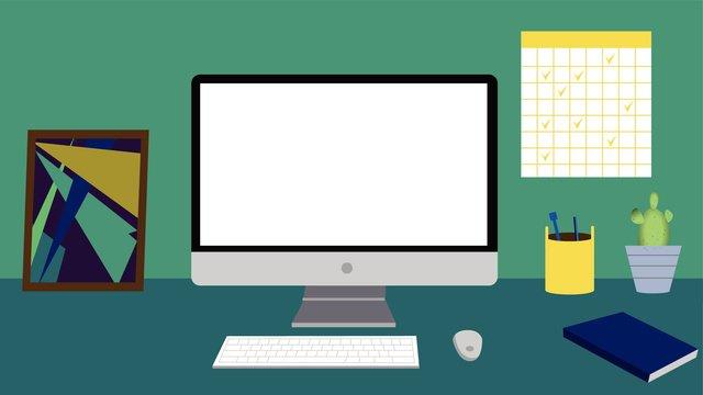 kinh doanh bàn máy tính để yếu tố minh họa vector gốc Hình minh họa