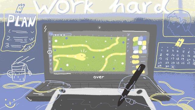 オフィス用家具の図面テーブルとツールの図事務所  調度  机 PNGおよびPSD illustration image
