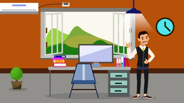 Original home office character scene flat style illustration llustration image illustration image