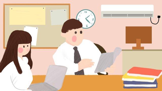 office meeting boss working man white collar hand drawn illustration flat wind llustration image illustration image