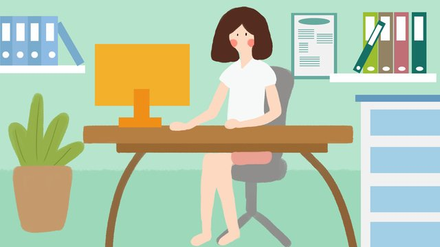 office meeting computer work white collar hand drawn illustration flat wind llustration image illustration image