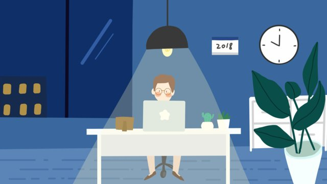 people working at night office llustration image