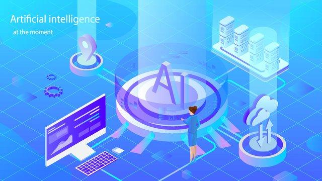 Artificial intelligence 2.5d virtual scene illustrator, Original, Business Illustration, Wallpaper Poster illustration image