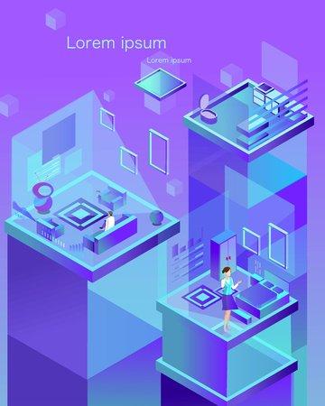 Technology future 2 5d smart apartment breathable vector illustration llustration image