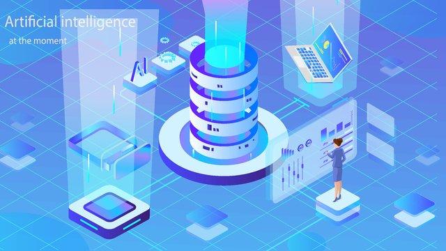 Artificial intelligence 2.5d virtual platform vector illustration, Original, Business Office, Business Illustration illustration image