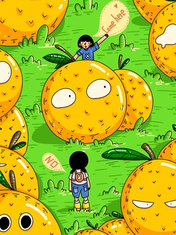 子供の頃ファンタジーオレンジの子供の挨拶子供 イラスト画像