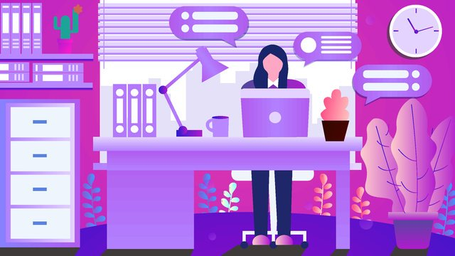 Original hand-painted illustration business office flat simple style, Original Hand Drawn Illustration, Business, Office illustration image