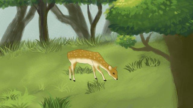 Hand drawn forest deep deer, Original, Hand Painted, Deer illustration image