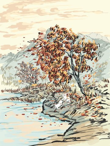 original chinese style ink illustration autumn leaves day llustration image