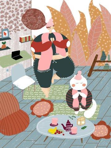 太った家の冬の楽しい時間の女の子はヨガの漫画の挿し絵を練習します イラストレーション画像 イラスト画像
