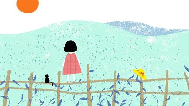 こんにちは、モーニング娘アイデア  オリジナルイラスト  太陽 PNGおよびPSD illustration image