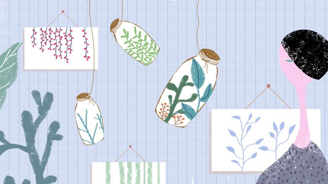 Original illustration august hello hand painted green plant girl elegant blue background, Original Illustration, Hello In August, Hand Painted illustration image