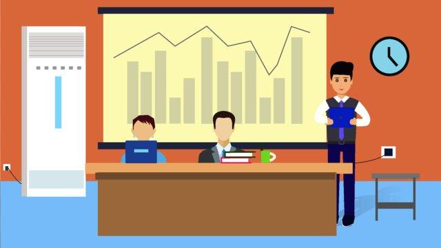 original character office meeting scene flat style illustration llustration image illustration image