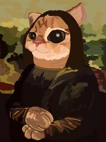ilustração original pintura a óleo de imitação mona lisa cat Material de ilustração Imagens de ilustração