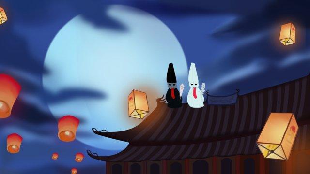 original vẽ minh họa cho tết trung nguyên đêm ám đen vô thường Hình minh họa