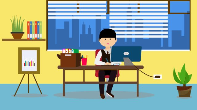 Original office character scene flat style illustration llustration image illustration image