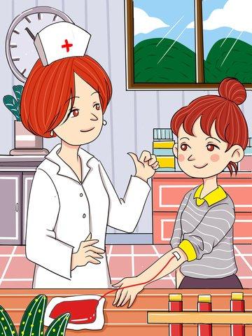原創女孩公益獻血卡通插畫 插畫素材