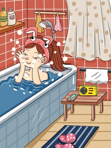 original girl bathroom skin care beauty cartoon small fresh illustration llustration image illustration image