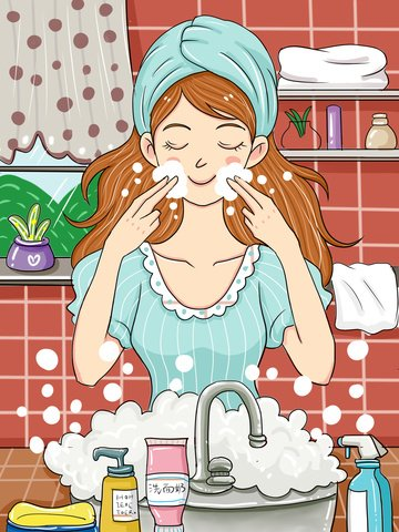 original skin care beauty small fresh cartoon illustration llustration image