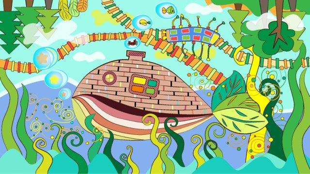 オリジナルの夏の海のファンタジー漫画子供のイラスト イラスト素材