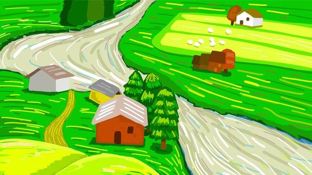 thị trấn cổ tích mùa hè điển minh họa phong cảnh tươi Hình minh họa Hình minh họa